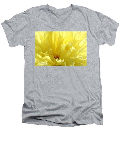 Yellow Dahlia Burst Men's V-Neck T-Shirt