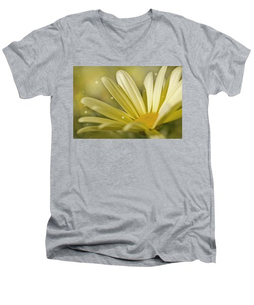 Men's V-Neck T-Shirt featuring the photograph Yellow Daisy by Ann Lauwers
