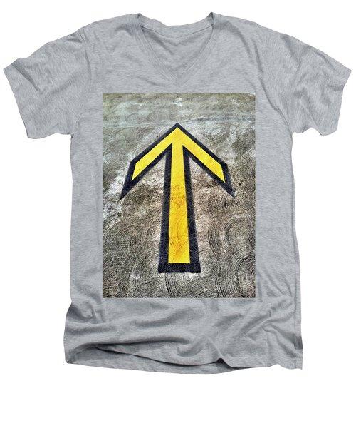 Yellow Directional Arrow On Pavement Men's V-Neck T-Shirt