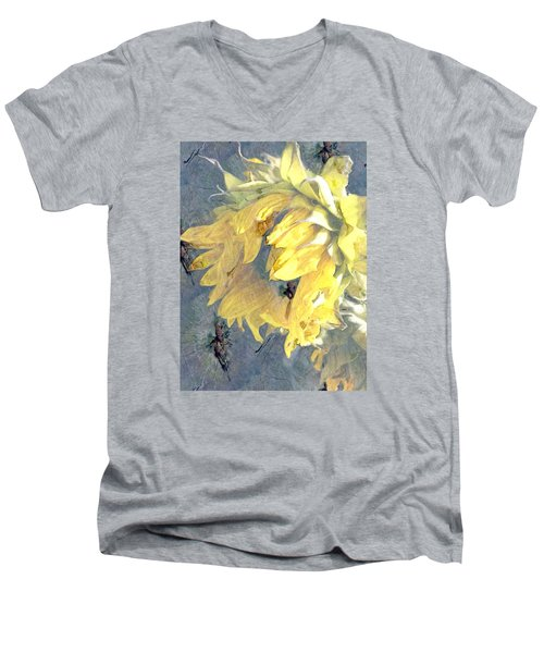 Men's V-Neck T-Shirt featuring the photograph Yellow Fading Flower by Patricia Januszkiewicz