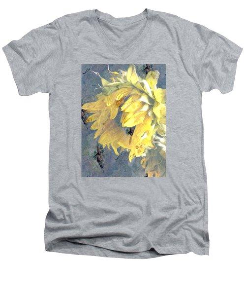 Yellow Fading Flower Men's V-Neck T-Shirt