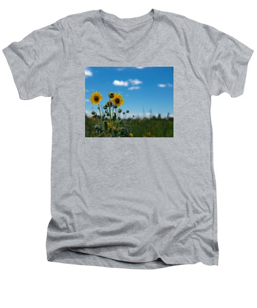 Yellow Flower On Blue Sky Men's V-Neck T-Shirt by Photographic Arts And Design Studio