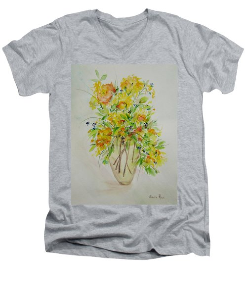 Yellow Flowers Men's V-Neck T-Shirt by Judith Rhue