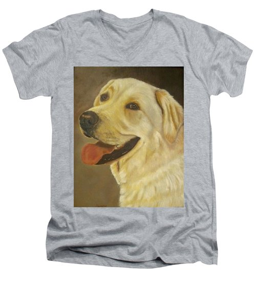 Yellow Lab Men's V-Neck T-Shirt by Sharon Schultz