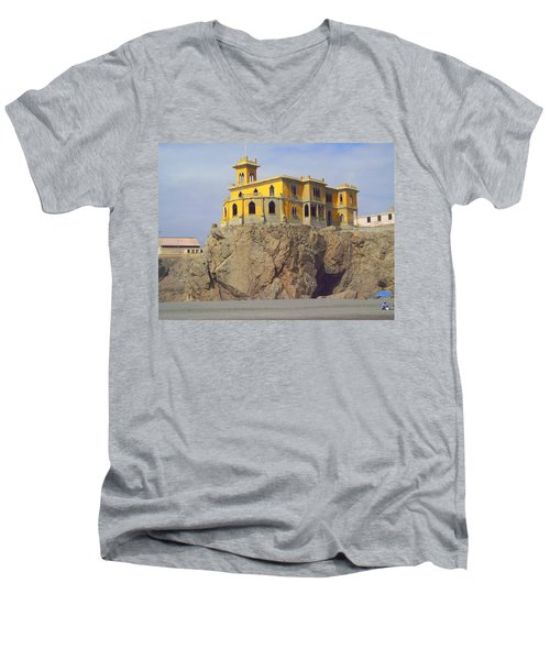 Men's V-Neck T-Shirt featuring the photograph Yellow On The Rocks by Lew Davis