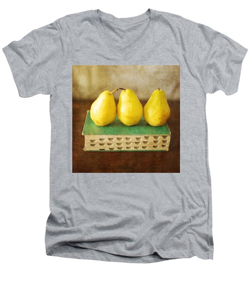 Yellow Pears And Vintage Green Book Still Life Men's V-Neck T-Shirt