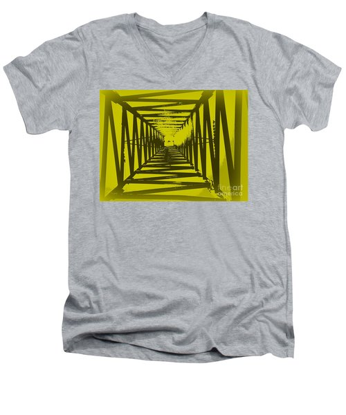 Yellow Perspective Men's V-Neck T-Shirt by Clare Bevan