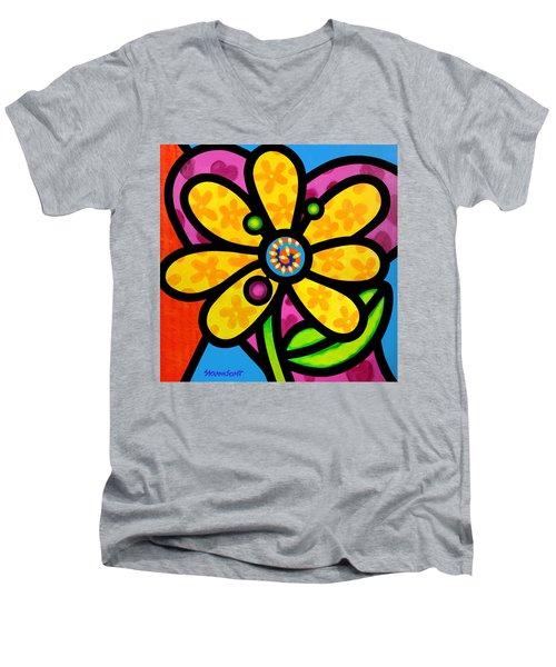 Yellow Pinwheel Daisy Men's V-Neck T-Shirt