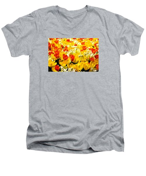 Yellow Red And White Tulips Men's V-Neck T-Shirt by Menachem Ganon