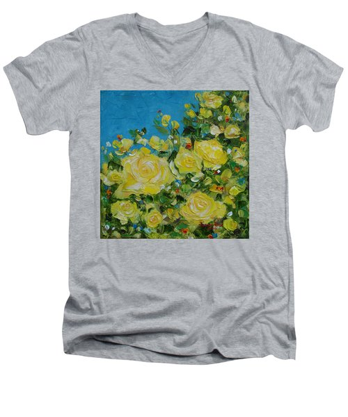 Yellow Roses Men's V-Neck T-Shirt by Judith Rhue
