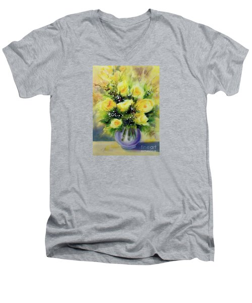 Yellow Roses Men's V-Neck T-Shirt by Kathy Braud
