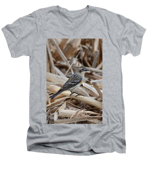 Yellow-rumped Warbler Men's V-Neck T-Shirt by Debra Martz