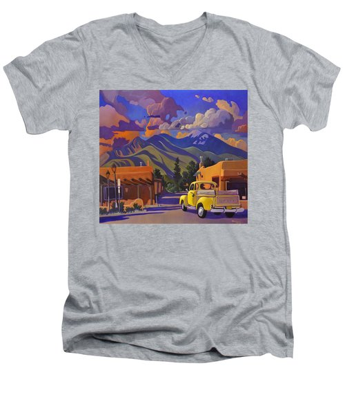 Men's V-Neck T-Shirt featuring the painting Yellow Truck by Art James West