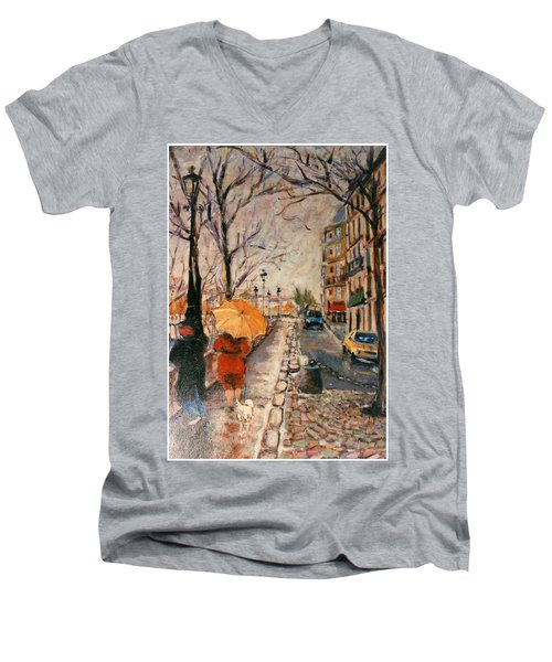 Men's V-Neck T-Shirt featuring the painting Yellow Umbrella by Walter Casaravilla