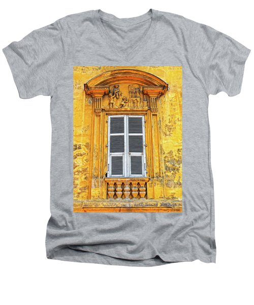 Men's V-Neck T-Shirt featuring the photograph Yellow Window Nice France by Dave Mills