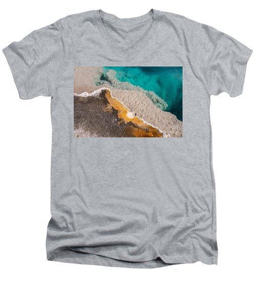 Yellowstone Abstract Men's V-Neck T-Shirt by Sue Smith