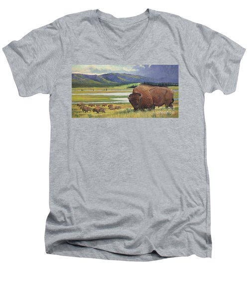 Men's V-Neck T-Shirt featuring the painting Yellowstone Bison by Rob Corsetti