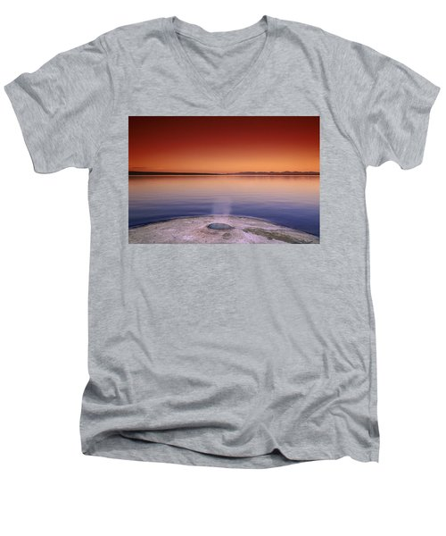 Yellowstone Lake And Geyser Men's V-Neck T-Shirt by Rich Franco