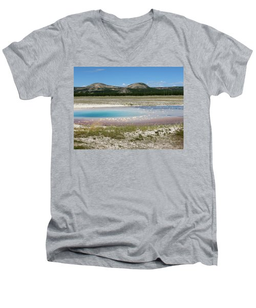 Men's V-Neck T-Shirt featuring the photograph Yellowstone Landscape by Laurel Powell