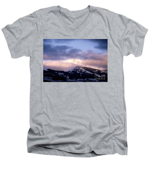 Men's V-Neck T-Shirt featuring the photograph Yellowstone Morning by Sharon Elliott