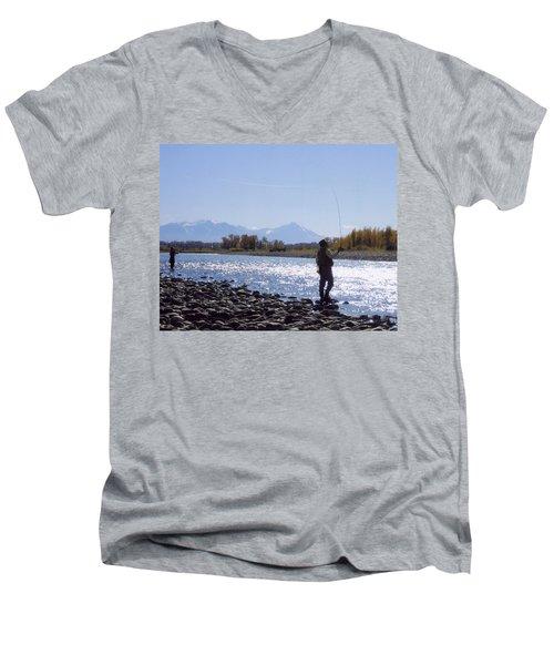 Yellowstone River Fly Fishing Men's V-Neck T-Shirt