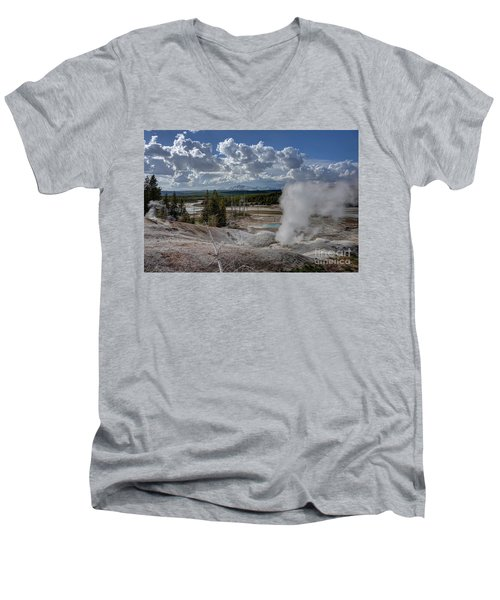 Men's V-Neck T-Shirt featuring the photograph Yellowstone's Norris Geyser Basin by Bill Gabbert