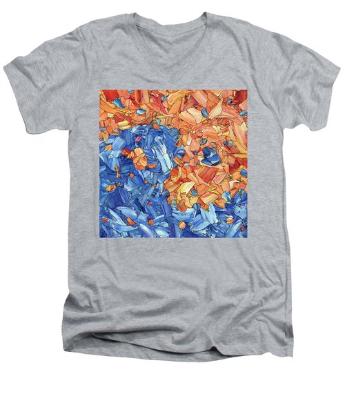 Men's V-Neck T-Shirt featuring the painting Yin-yang by James W Johnson