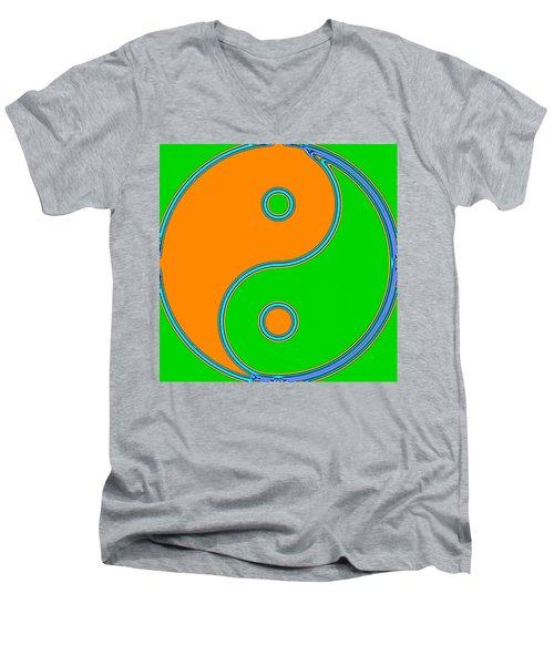 Yin Yang Orange Green Pop Art Men's V-Neck T-Shirt
