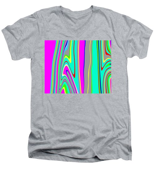 Men's V-Neck T-Shirt featuring the painting Yipes Stripes II  C2014 by Paul Ashby