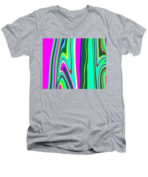 Men's V-Neck T-Shirt featuring the painting Yipes Stripes II Variation  C2014 by Paul Ashby