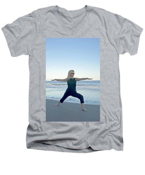 Yoga Woman On The Beach Men's V-Neck T-Shirt