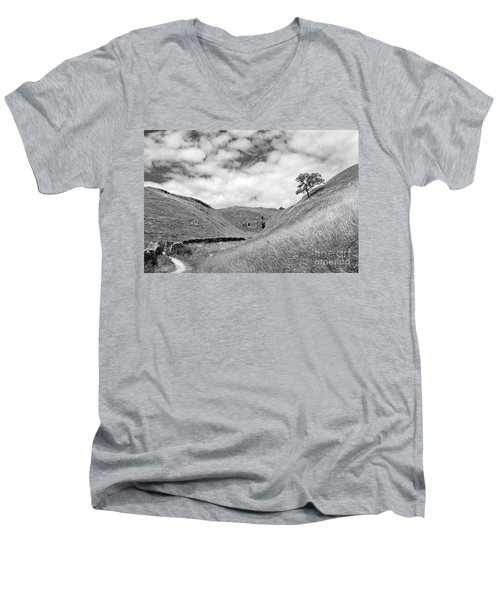 Lone Tree In The Yorkshire Dales Men's V-Neck T-Shirt