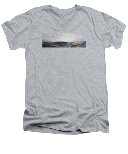 Men's V-Neck T-Shirt featuring the painting Yorkshire Moors by Jean Walker