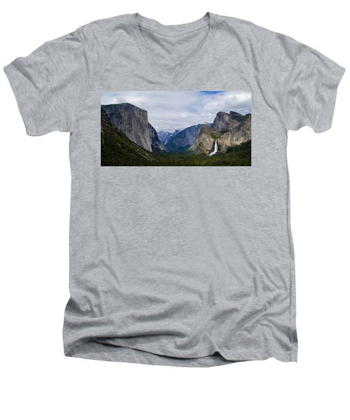 Yosemite Valley Panoramic Men's V-Neck T-Shirt by Bill Gallagher