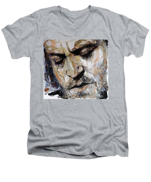 Men's V-Neck T-Shirt featuring the painting You Are So Beautiful by Laur Iduc