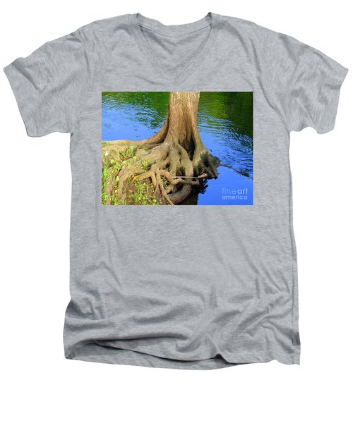 Men's V-Neck T-Shirt featuring the photograph You Can Bank On It by Lew Davis