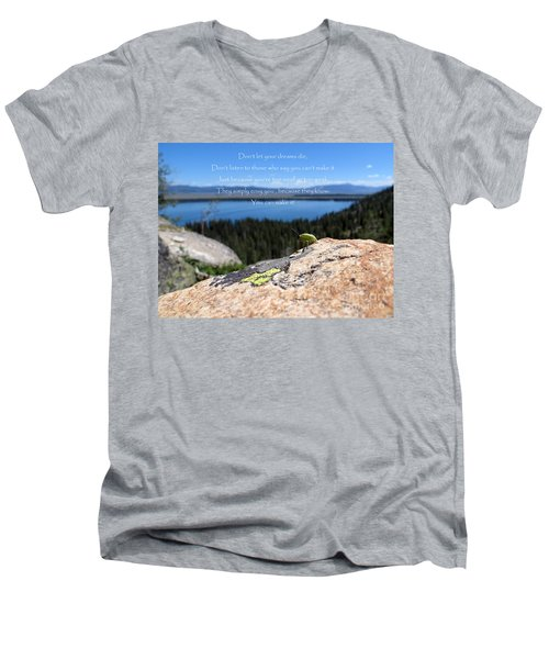 Men's V-Neck T-Shirt featuring the photograph You Can Make It. Inspiration Point by Ausra Huntington nee Paulauskaite