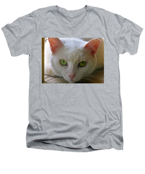 Men's V-Neck T-Shirt featuring the photograph You Lookin At Me by Sherman Perry