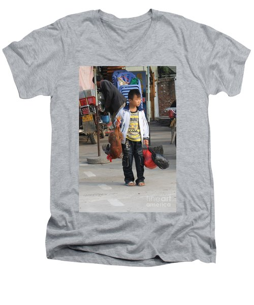 Young Boy Carrying A Dead Chicken To School Men's V-Neck T-Shirt