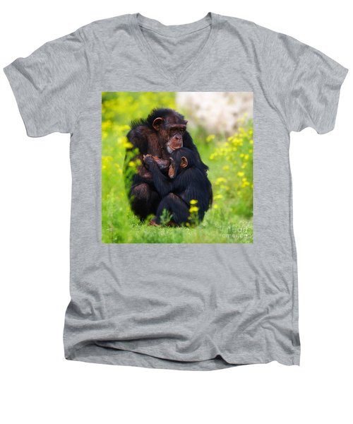 Young Chimpanzee With Adult - II Men's V-Neck T-Shirt