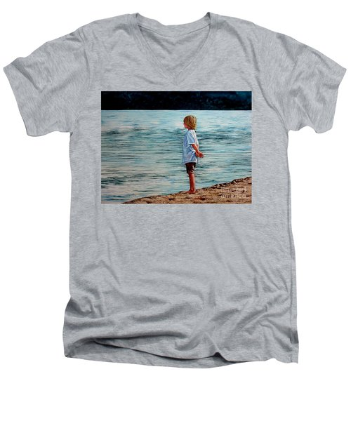 Men's V-Neck T-Shirt featuring the painting Young Lad By The Shore by Christopher Shellhammer