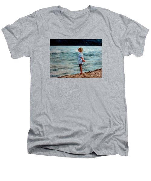 Young Lad By The Shore Men's V-Neck T-Shirt