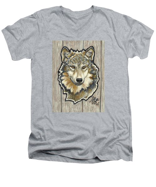 Men's V-Neck T-Shirt featuring the painting Young Wolf by VLee Watson