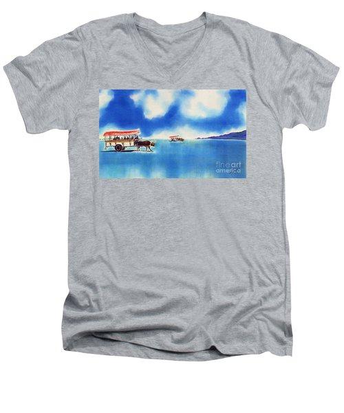 Yubu Island-water Buffalo Taxi  Men's V-Neck T-Shirt