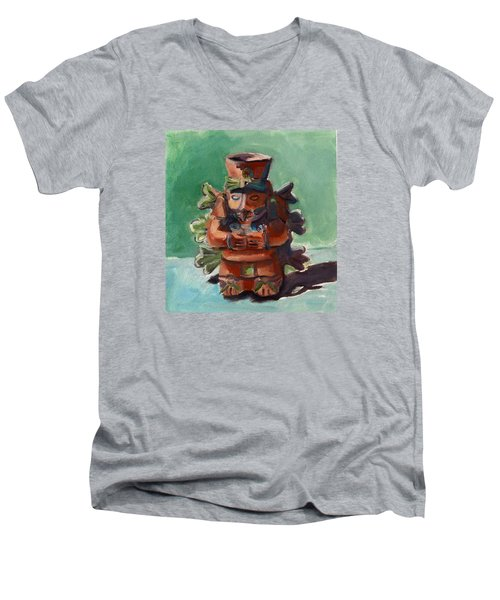 Men's V-Neck T-Shirt featuring the painting Yucatan Prince by Pattie Wall