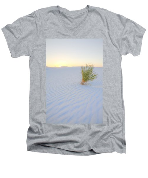 Men's V-Neck T-Shirt featuring the photograph Yucca Plant At White Sands by Alan Vance Ley