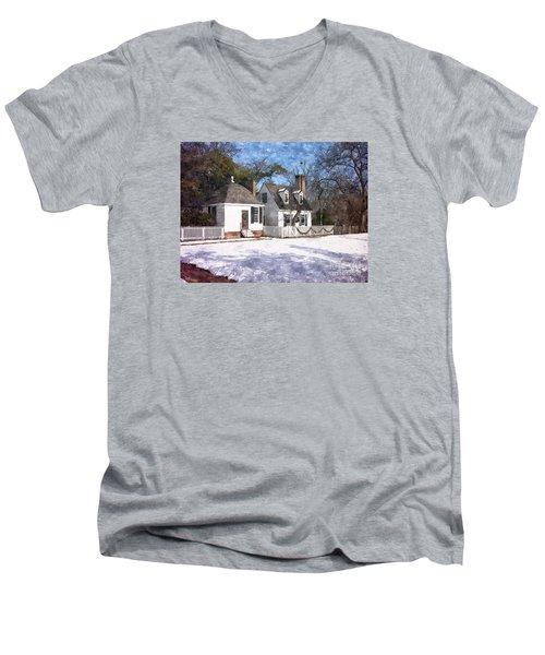 Yule Cottage Men's V-Neck T-Shirt by Shari Nees