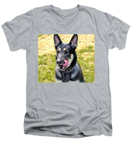Men's V-Neck T-Shirt featuring the photograph German Shepherd - Yum - Luther Fine Art by Luther Fine Art
