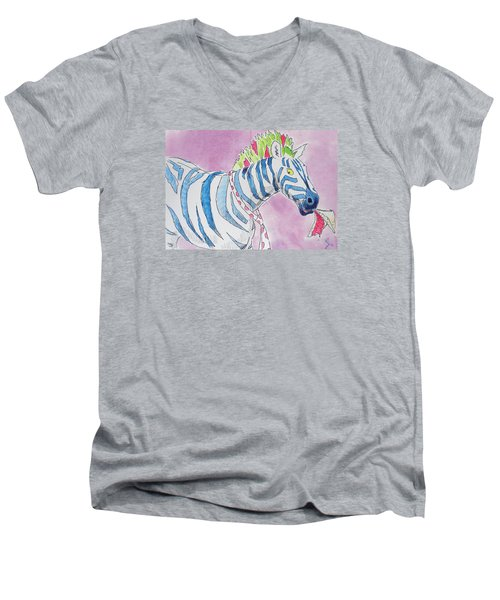 Zebra Cartoon Men's V-Neck T-Shirt