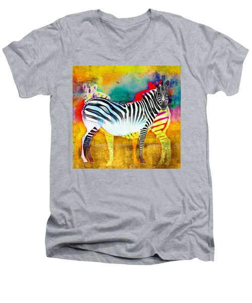 Zebra Colors Of Africa Men's V-Neck T-Shirt